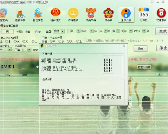 免费精准八字宝宝起名软件原文件及破解版【免费取名软件】